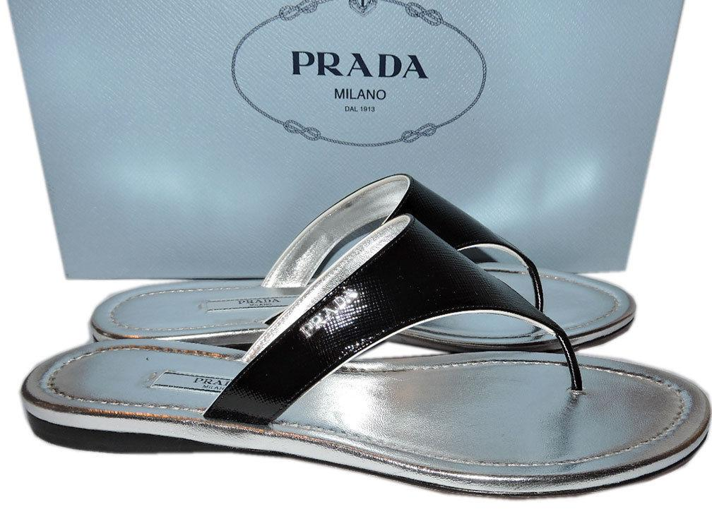 Prada Navy Blue Patent Leather Thongs Flat Sandals 38 Slide T Strap Flip Flops
