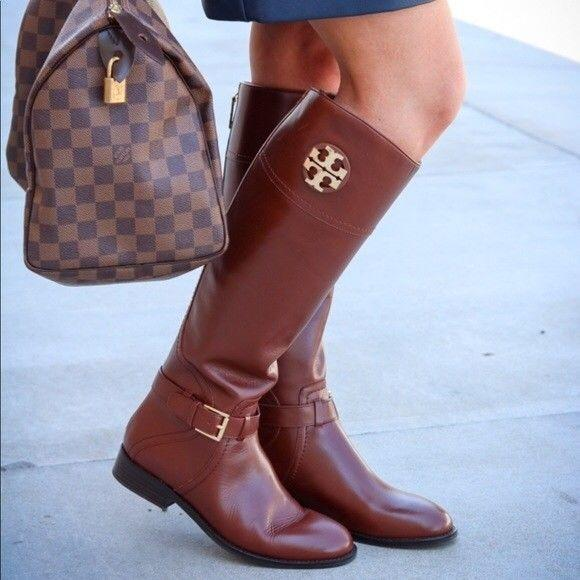 $495 Tory Burch ADELINE Riding Boots Tall Flat Equestrian Booties 9.5 Gold Logo