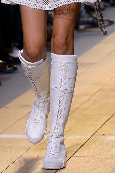 $1600 Christian Dior Tall Knee FENCE Sneakers Runnway Boots White Bootie 37.5