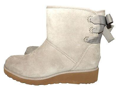 $199 UGG Australia Gray Suede Ankle Boots Back Bow Fur Lined Wedge Booties 9.5