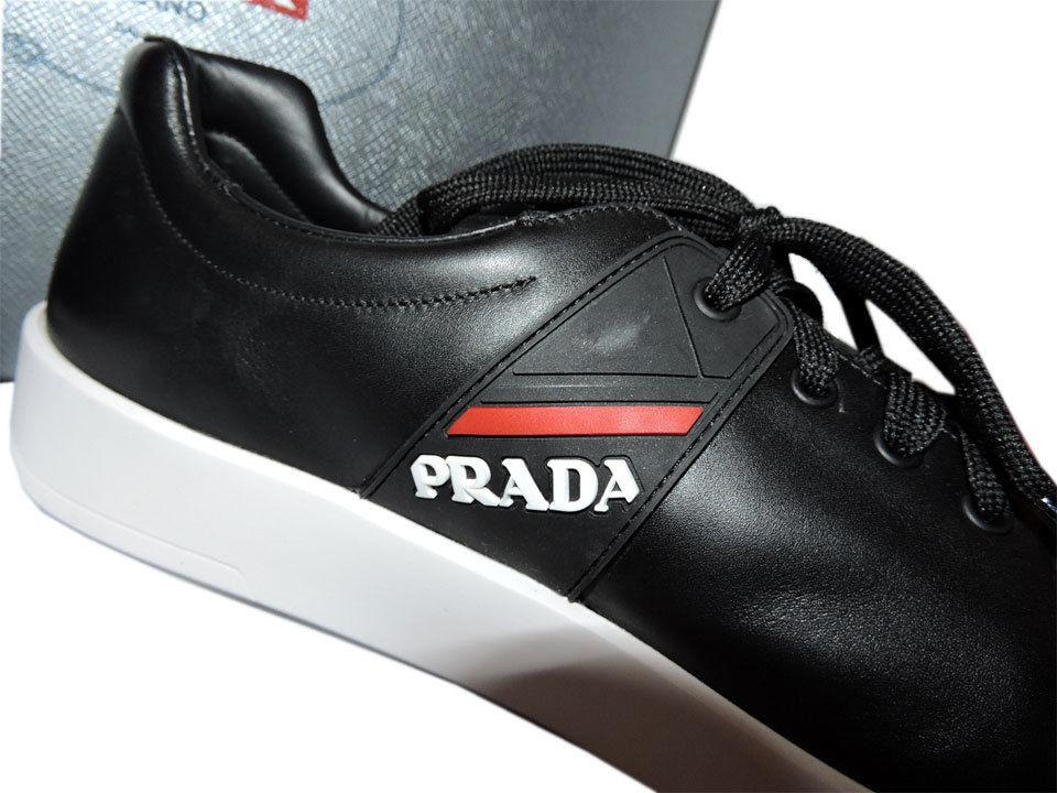 PRADA Men's Low Profile Top Logo Sneakers Lace Up Black Leather Shoe 9 Uk- 10 Us