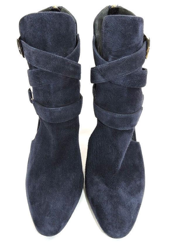 3640c988e88 $780 TAMARA MELLON Navy Suede Boots Cutout Buckles Ankle Booties Shoes 41