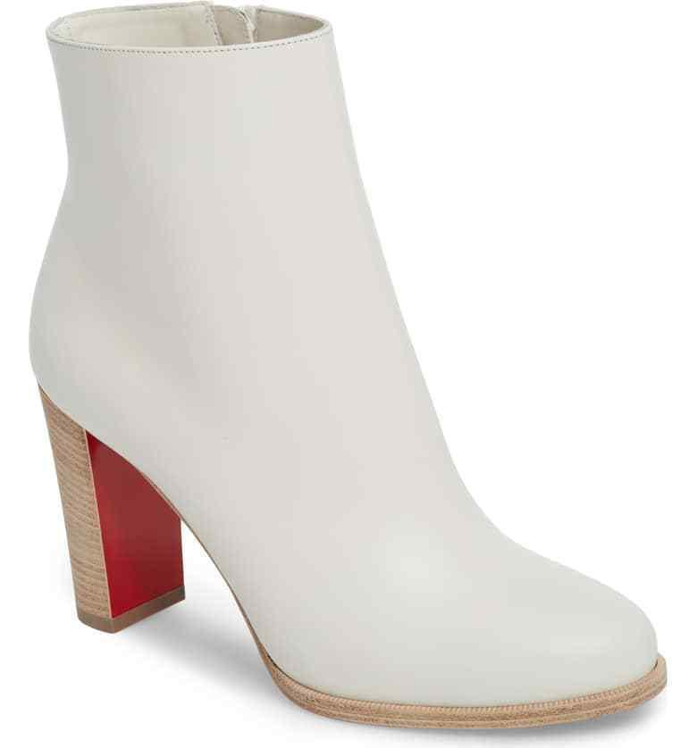 Sz 38 Christian Louboutin ADOX 85 Block Heel Ankle Boot LATTE Leather