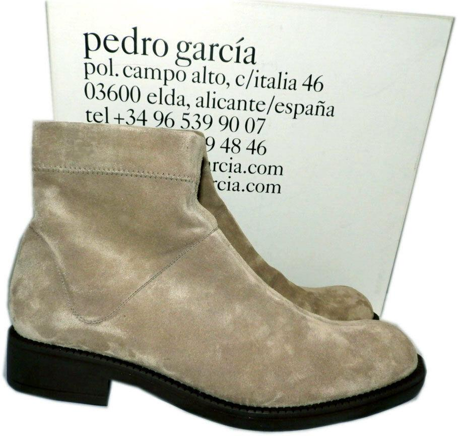 $630 Pedro Garcia Ankle Boots KANA Stretch Suede Flat Booties 39.5