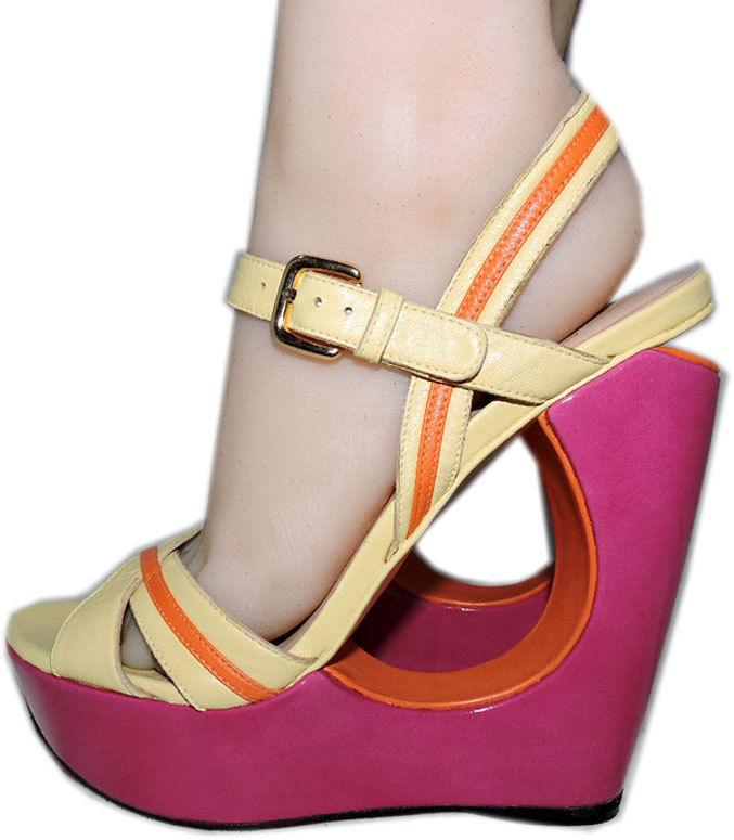 Stuart Weitzman Cut Out Pink Wedge Sandals Color Block Slingback Shoes 6.5