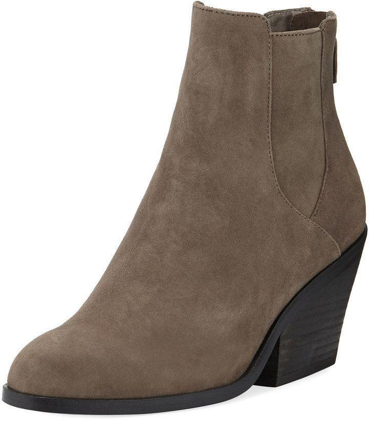Eileen Fisher Peer Suede Ankle Boots Ankle Booties 8,5 Wedge Shoes