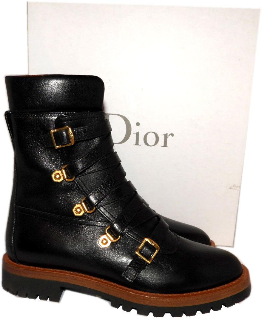 $1350 Christian Dior City Black Lace Up Zipper Boots Ankle Riding Booties 36.5