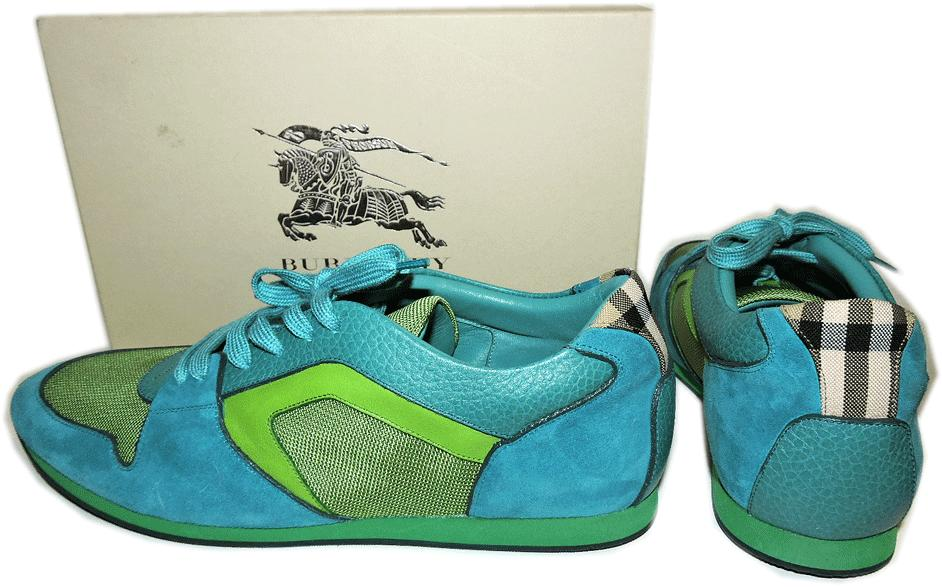 $595 Burberry Leather Sneaker The Field Sneaker In Turquoise Flat Shoe 40- 9.5 - Click Image to Close