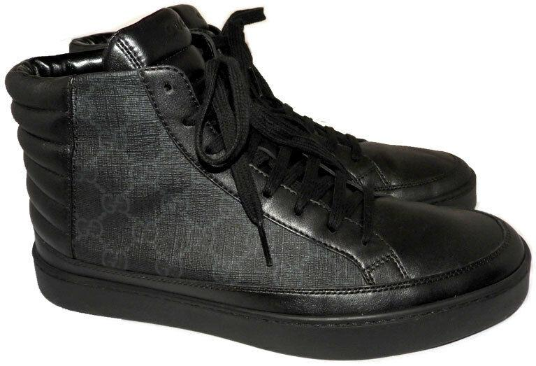 GUCCI Men's Common' High Top Sneakers Black Leather Shoe 7 Uk- 8 US
