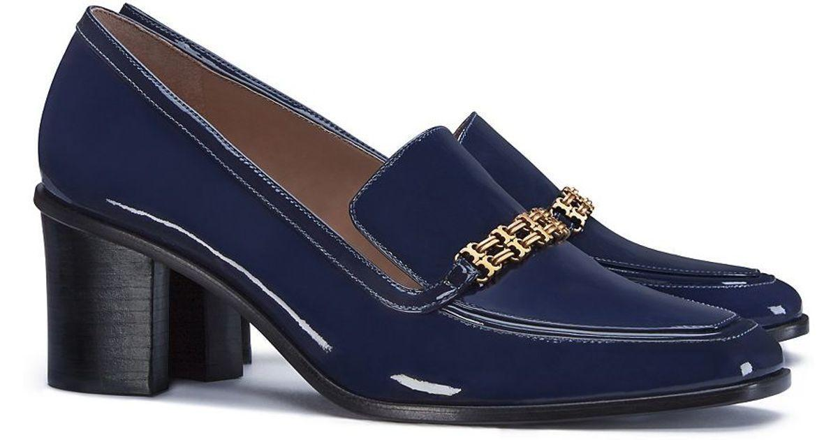 $350 Tory Burch Gemini Chain Link 65 Loafers Navy Blue Moccasins Shoe 9.5 Pumps