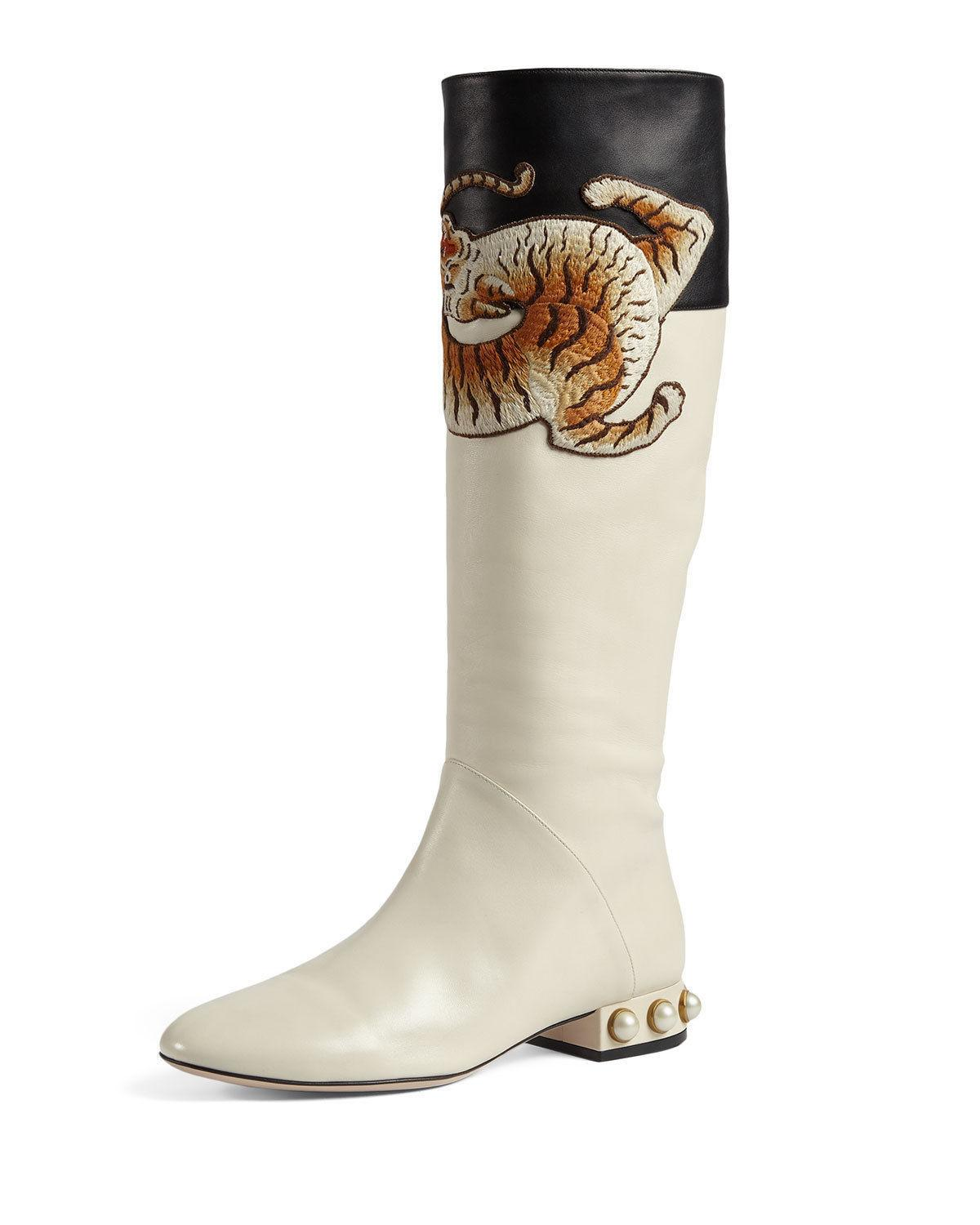 $2370 Gucci Pam Tiger Embroidered Tall Knee Boots Pearls Heel Booties 36 Ivory