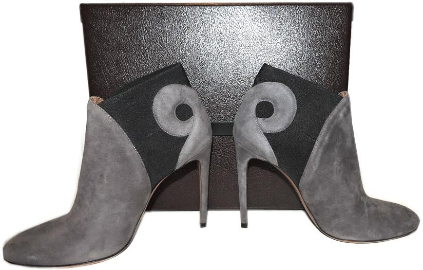 Azzedine Alaia Gray Cut Out Suede Ankle Boots Gored Slip On Bootie Heel Shoe 39 - Click Image to Close