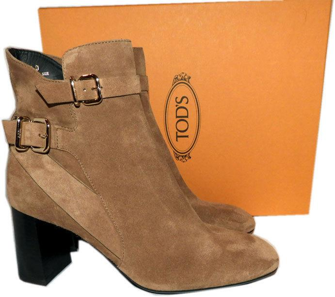 $795 Tod's Ankle Boots Calfskin Beige Suede Decorative Buckle Booties 40 New