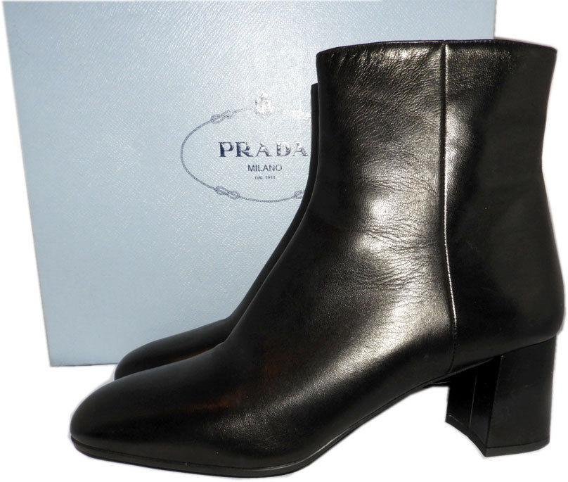 PRADA Black Leather Fashion Ankle Boots Tapered-Toe Block Heel Booties 38.5