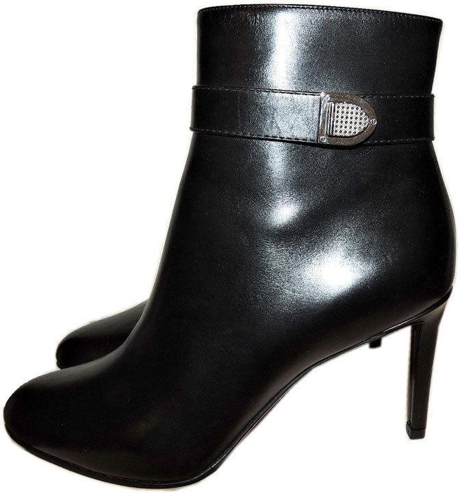 $1100 Christian Dior Black Leather Boots Buckle Ankle Booties 39.5-9