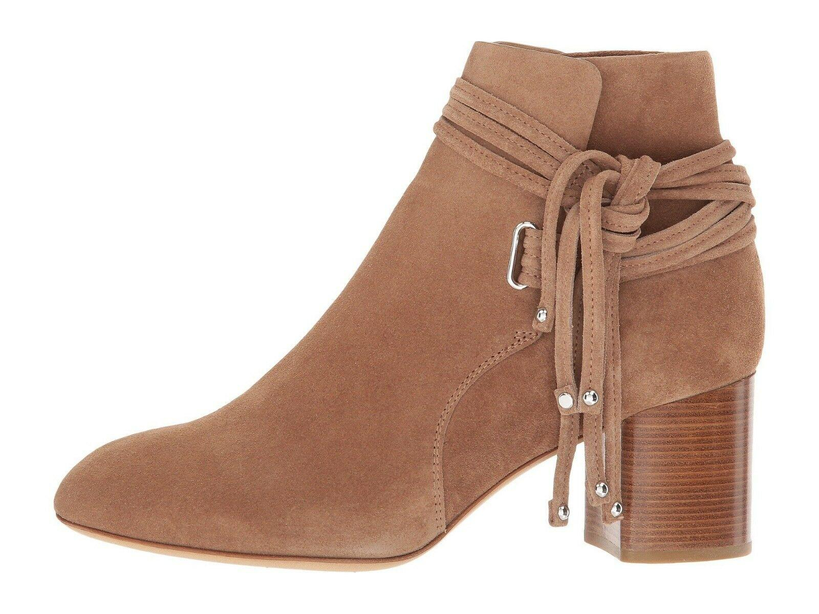 $575 Rag & Bone DALIA II Camel Suede Boots Ankle Booties Fringe Tie Shoes 39