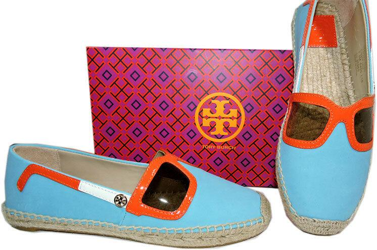 Tory Burch Jewel Oasis Sunny Espadrilles Flats Canvas Ballerina Shoes 10.5