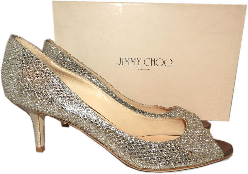 Jimmy Choo Isabel Glitter Champagne Peep Toe Low Heel Pump Shoes 39.5- 9