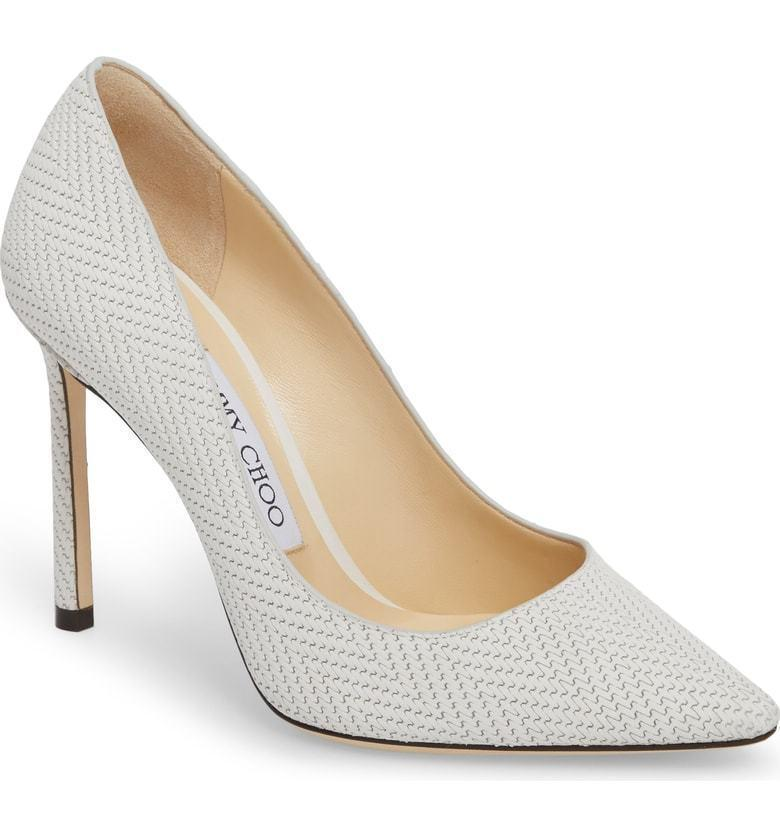 Jimmy Choo ROMY Latte Color Pointy Toe Pumps 37 Shoes Heels Woven Leather 100 mm