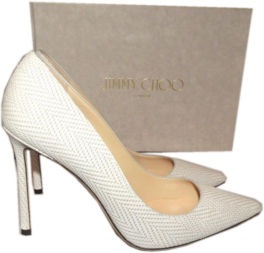 Jimmy Choo ROMY Latte Color Pointy Toe Pumps 37 Shoes Heels Woven Leather 100 mm - Click Image to Close