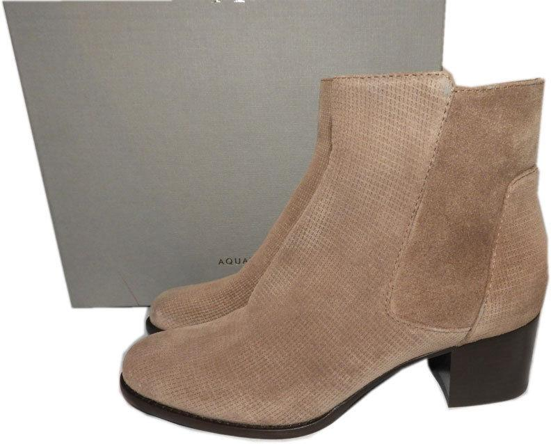 $450 Aquatalia Taupe Boots TISHA Weatherproof Leather Ankle Booties Shoes 7.5