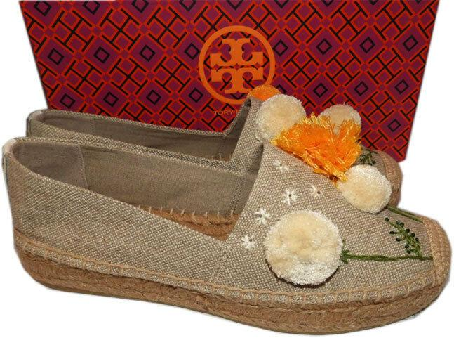 Tory Burch Natural Linen Lily Pompom Platform Espadrilles Flats Shoes 8 - Click Image to Close