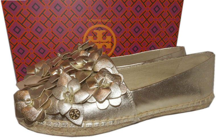 Tory Burch Blossom Gold Leather Platform Espadrilles Floral Flats Shoes 6 - Click Image to Close