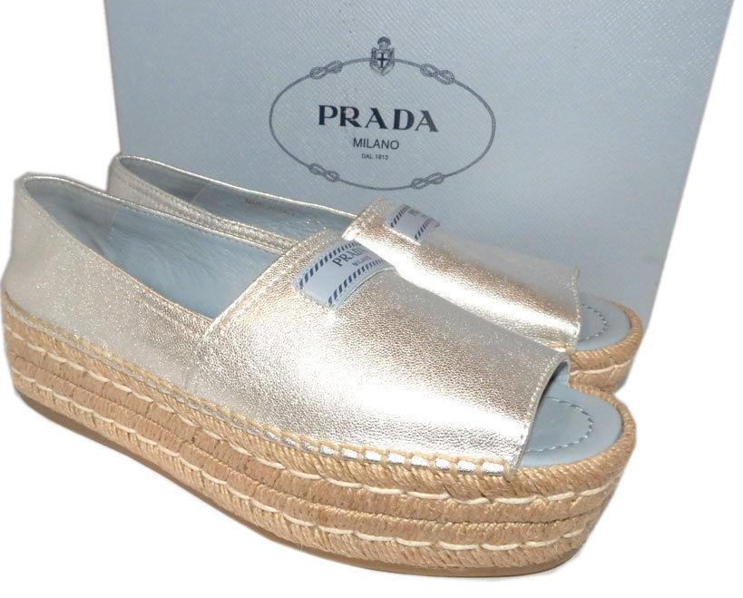 Prada Silver Leather Peep Toe Flat Wedge Espadrilles Slides Mules Shoes 38.5
