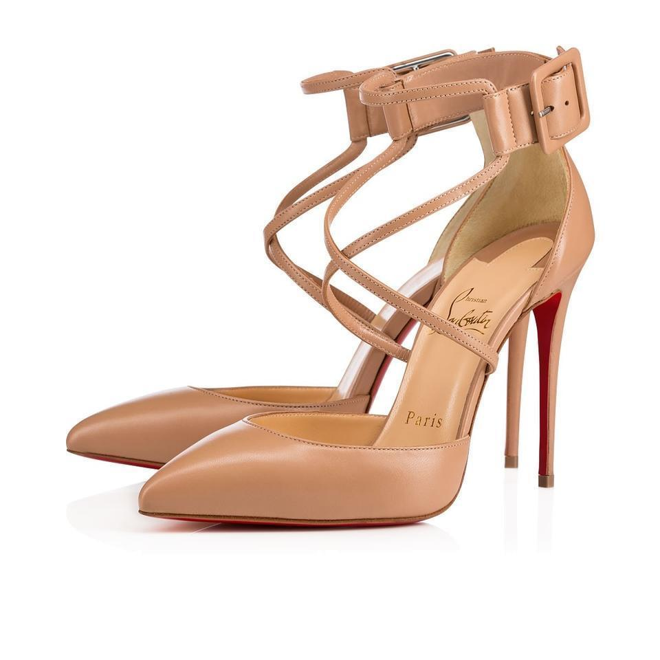 Christian Louboutin Crisscross Strap Suzanna Classic Heels Nude Pumps Shoes 37