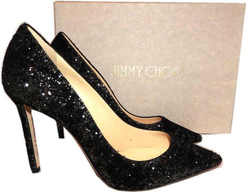 Jimmy Choo 'romy' Pointy Toe Pump Black ANthracite Glitter Heels Shoes 41
