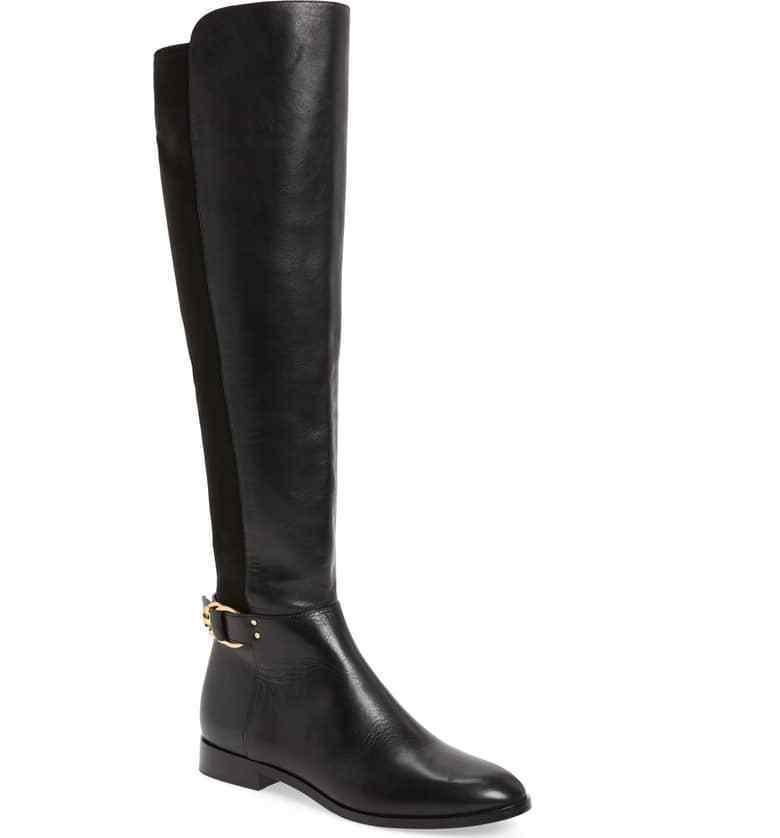 Tory Burch MARSDEN Stretch Riding Boots Flat Equestrian Booties 7 Over Knee