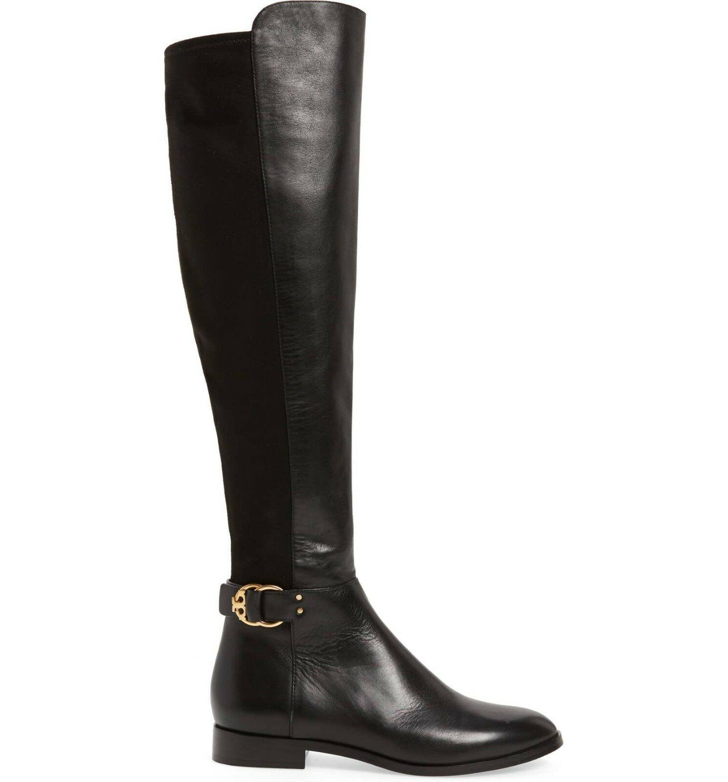 Tory Burch MARSDEN Stretch Riding Boots Flat Equestrian Booties 10.5 Over Knee