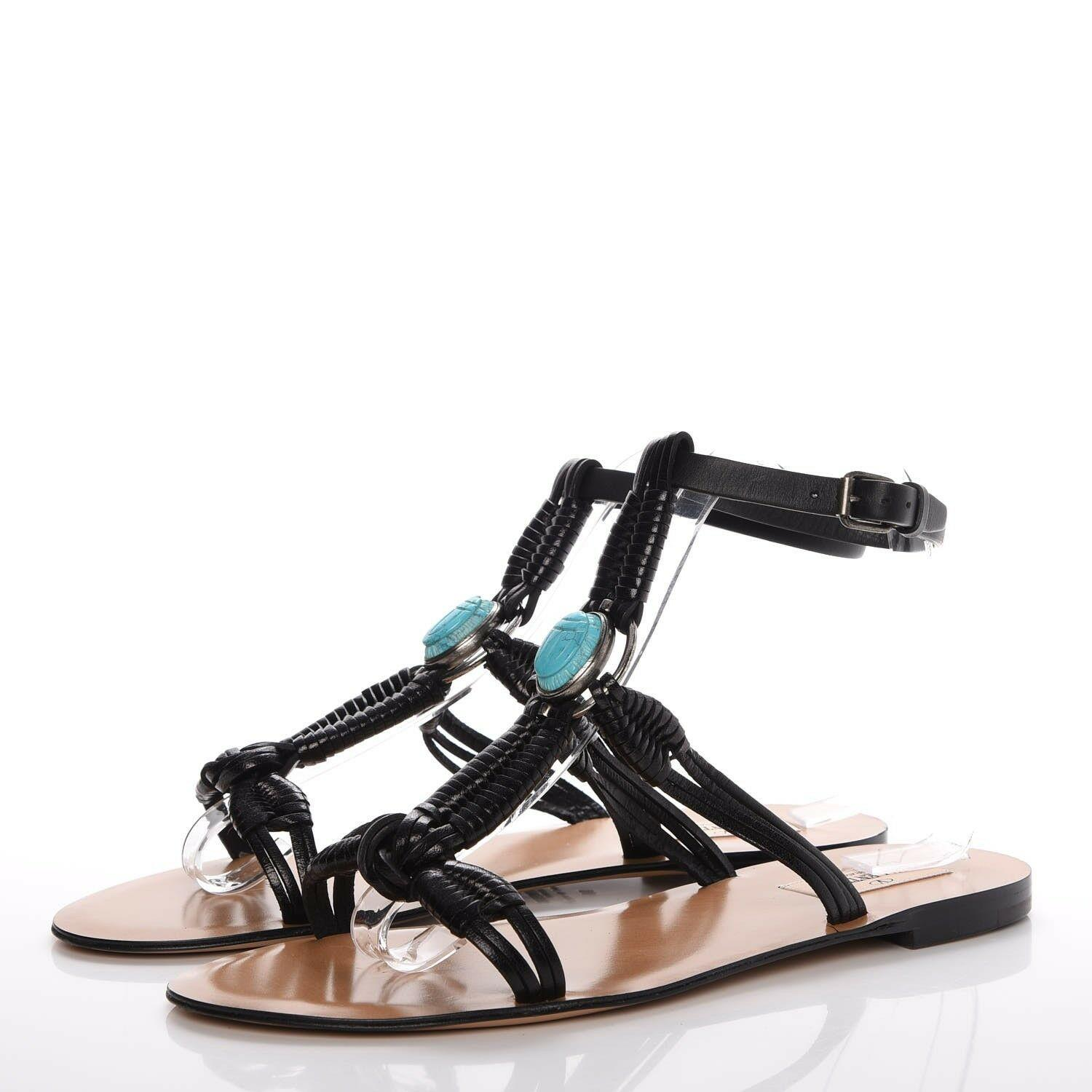 $1095 Valentino Embellished Leather Sandals Black Turquoise Shoes 39.5 Flats