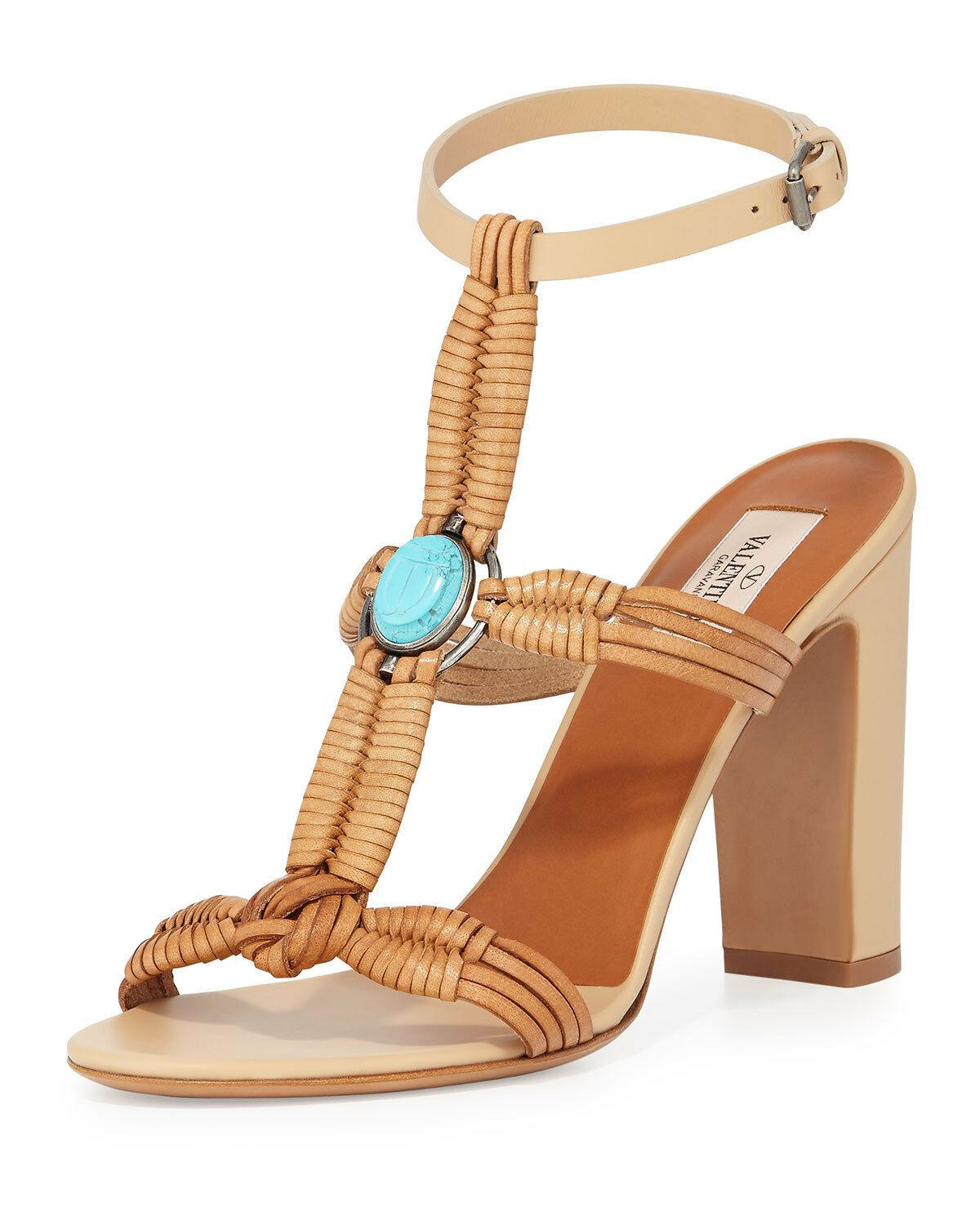 $1295 Valentino Embellished Woven Leather Sandals Beige Turquoise Shoes 40