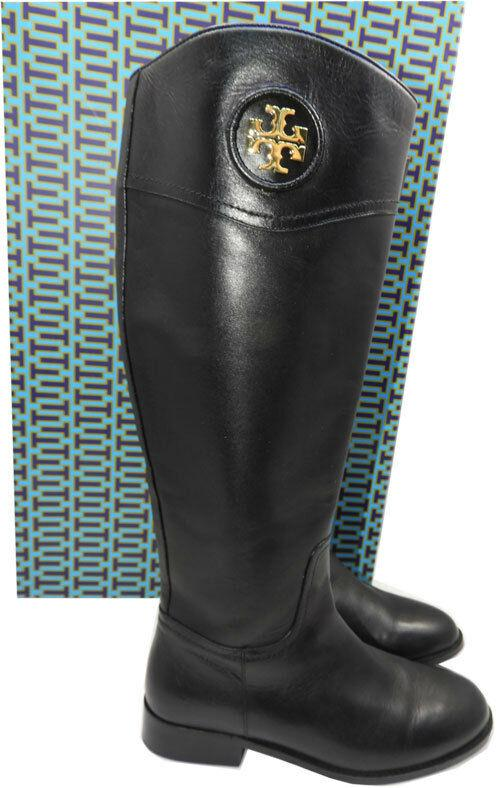 $495 Tory Burch ADELINE Riding Boots Tall Flat Equestrian Booties 7.5 Gold Logo