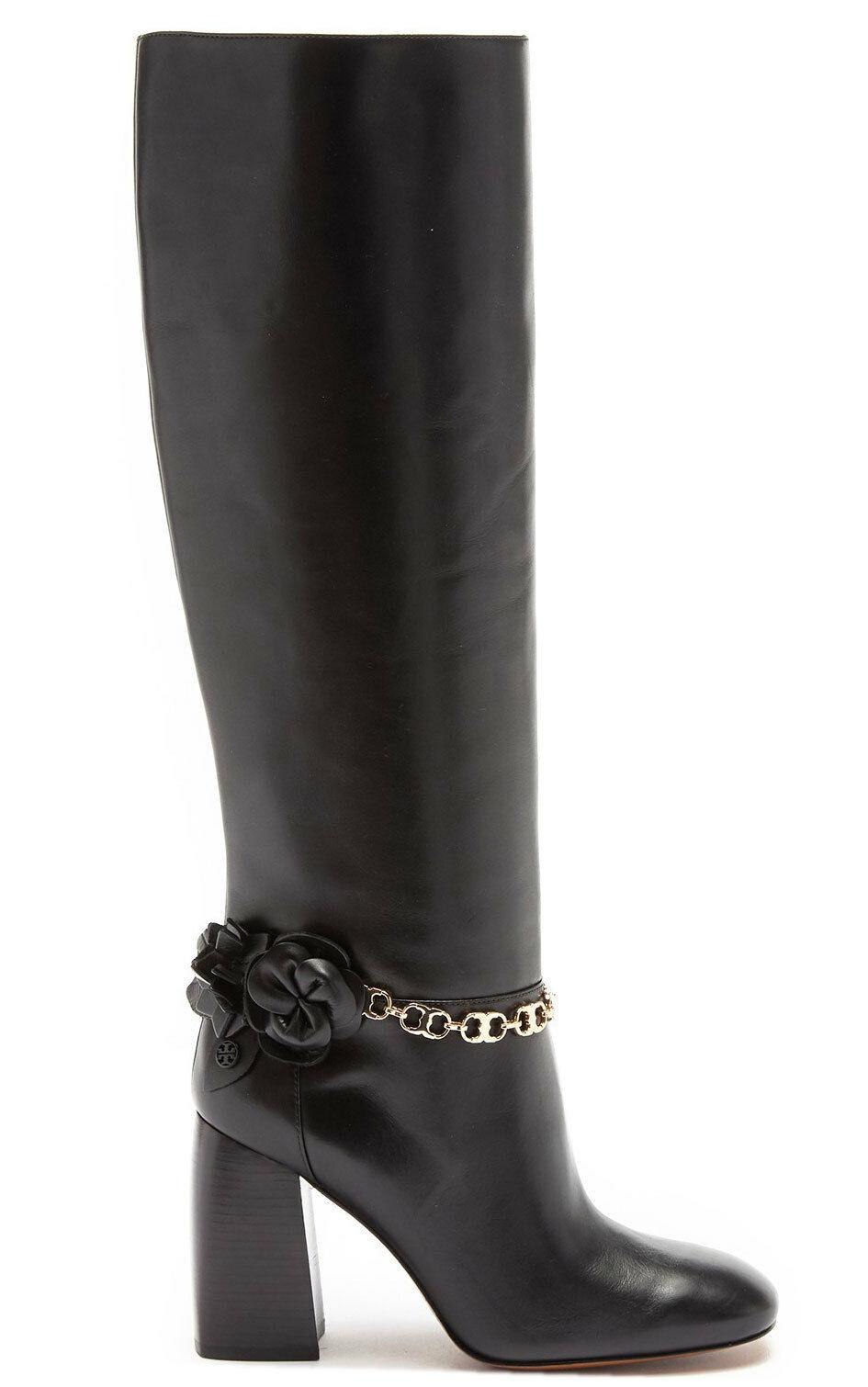 $550 Tory Burch Black Blossom Block Heel Boots Tall Knee High Booties 9.5