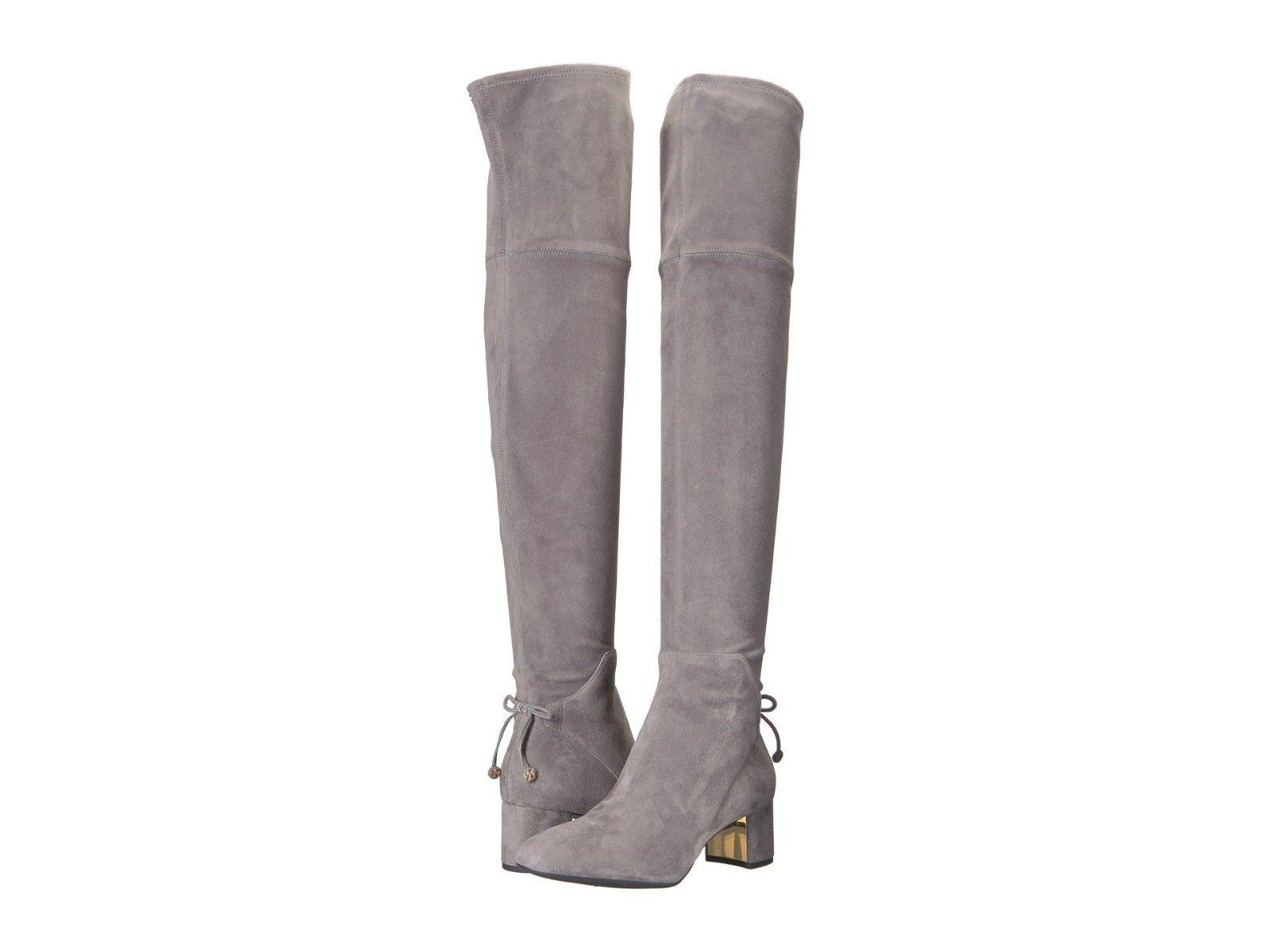 $598 TORY BURCH Over the Knee Boots LAILA Thigh High Booties 6.5 Gray Suede