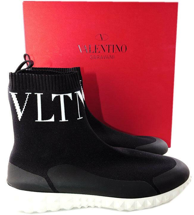 VALENTINO Black Stretch VLTN Slip-On Sock Sneakers 40 Rockstud Booties Shoes