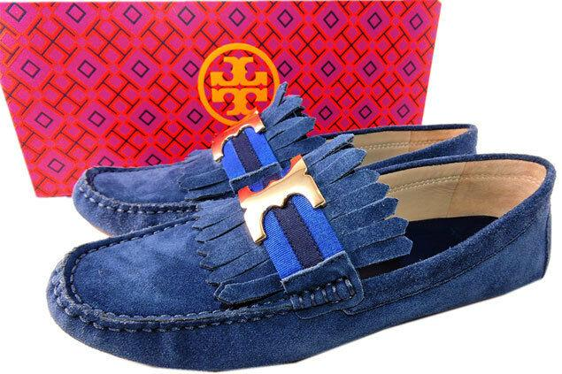 Tory Burch Blue Fringe GEMINI Driving Loafers Flats Moccasins Ballet Shoes 9