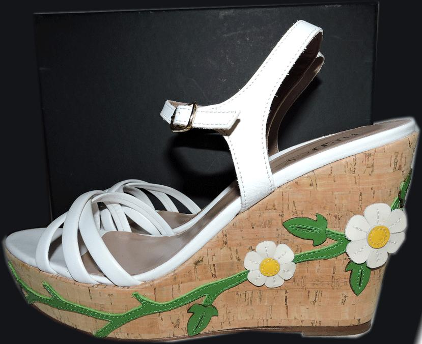 $595 Valentino Red White Flower Applique Espadrille Slingback Sandal Wedge 40- 9