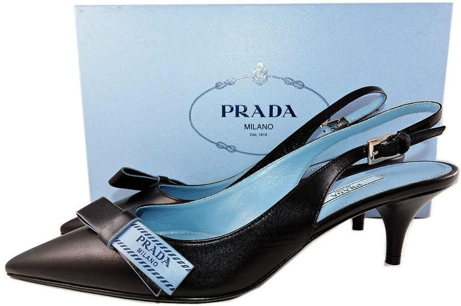 Prada Logo Bow Sandals 37.5 Black Leather Slingback Pointed Toe Pumps Shoes
