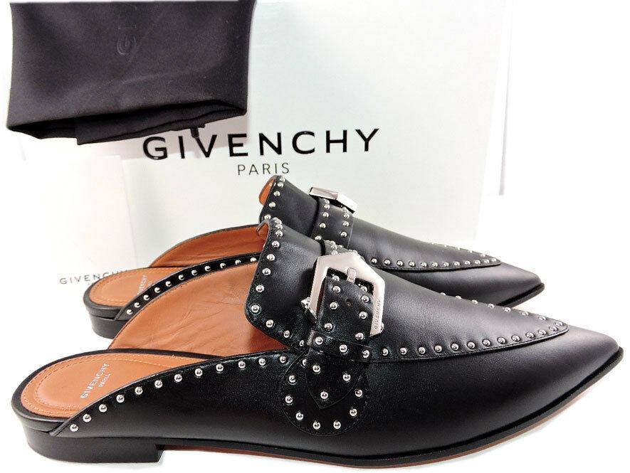 $850 Givenchy Black Leather Elegant Studded Loafers Mules Flats Buckle Shoes 39