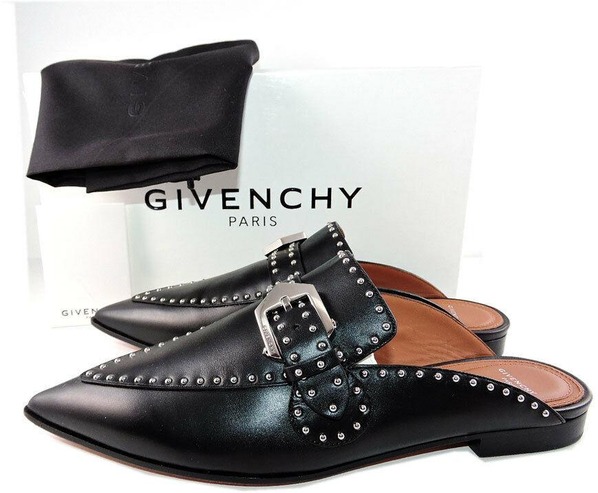 $850 Givenchy Black Elegant Studded Loafers Mules Flats Buckle Shoes 37.5