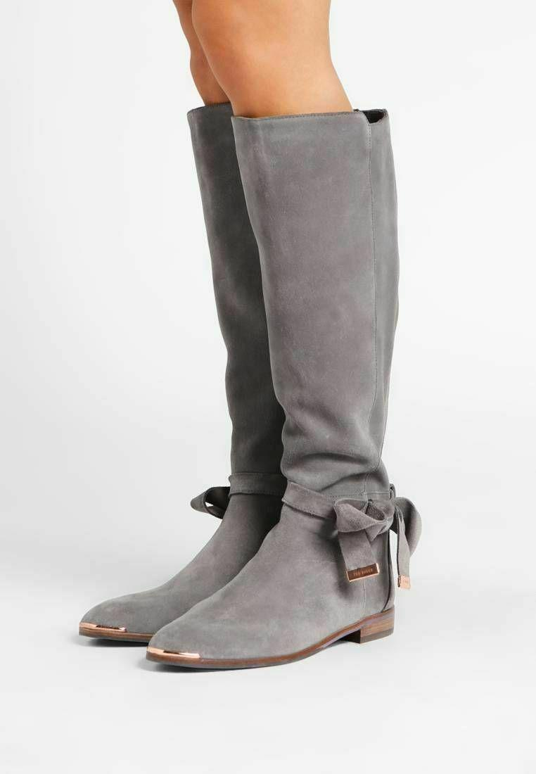 TED BAKER Gray Suede Alrami Tall Knee Boots Ankle Bow Flat Riding Booties 37
