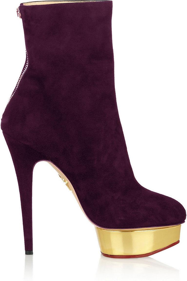 $1095 Charlotte Olympia LUCINDA Gold Platform Ankle Boots Zipper Booties 36