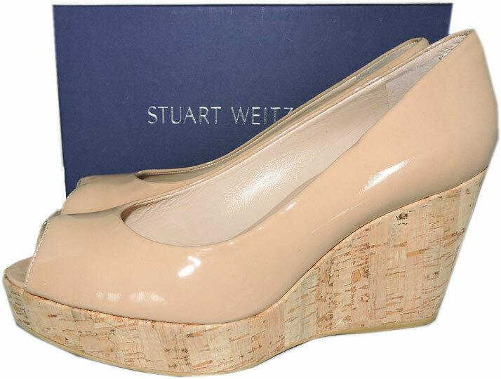 Stuart Weitzman ANNA Peep Toe Wedge Pumps Beige Patent Leather Cork Shoe 8.5
