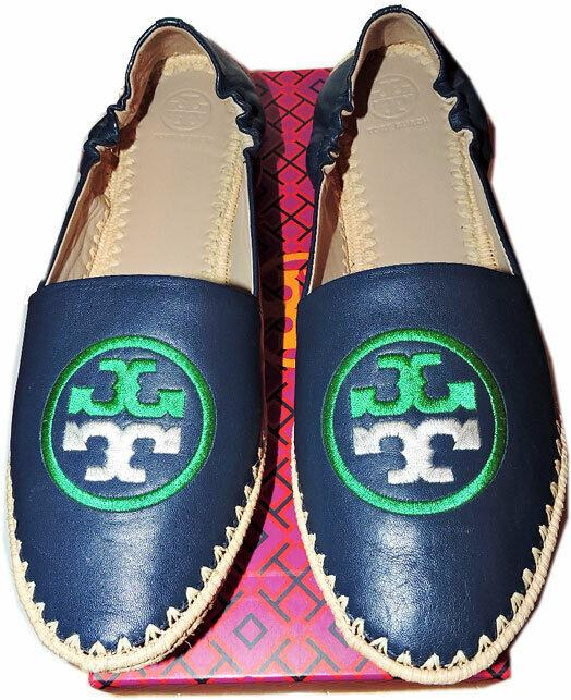 Tory Burch Darien Loafer Navy Flats Espadrilles Moccasins Embroidered Logo 11