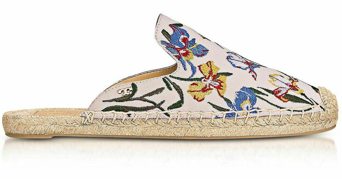 Tory Burch MAX Embroidered Ivory Espadrille Slides Mules Sandals Shoes 9.5 Clogs