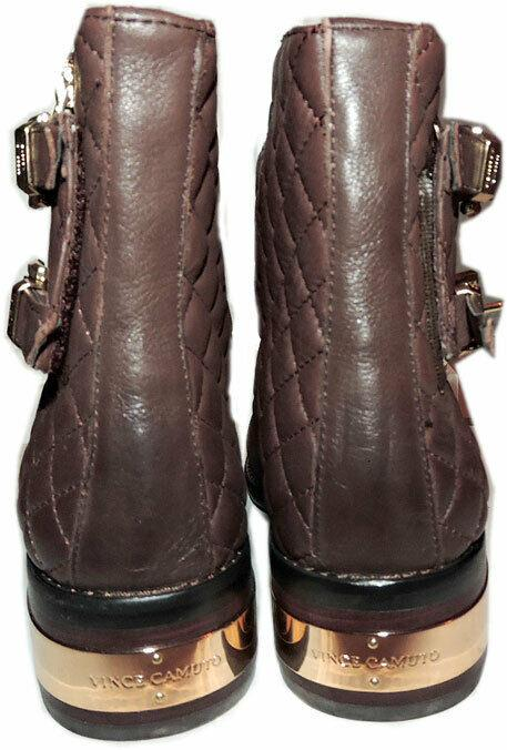 Vince Camuto WINTA Brown Leather Boots Flat Riding Moto Quilted Booties 7.5 - Click Image to Close