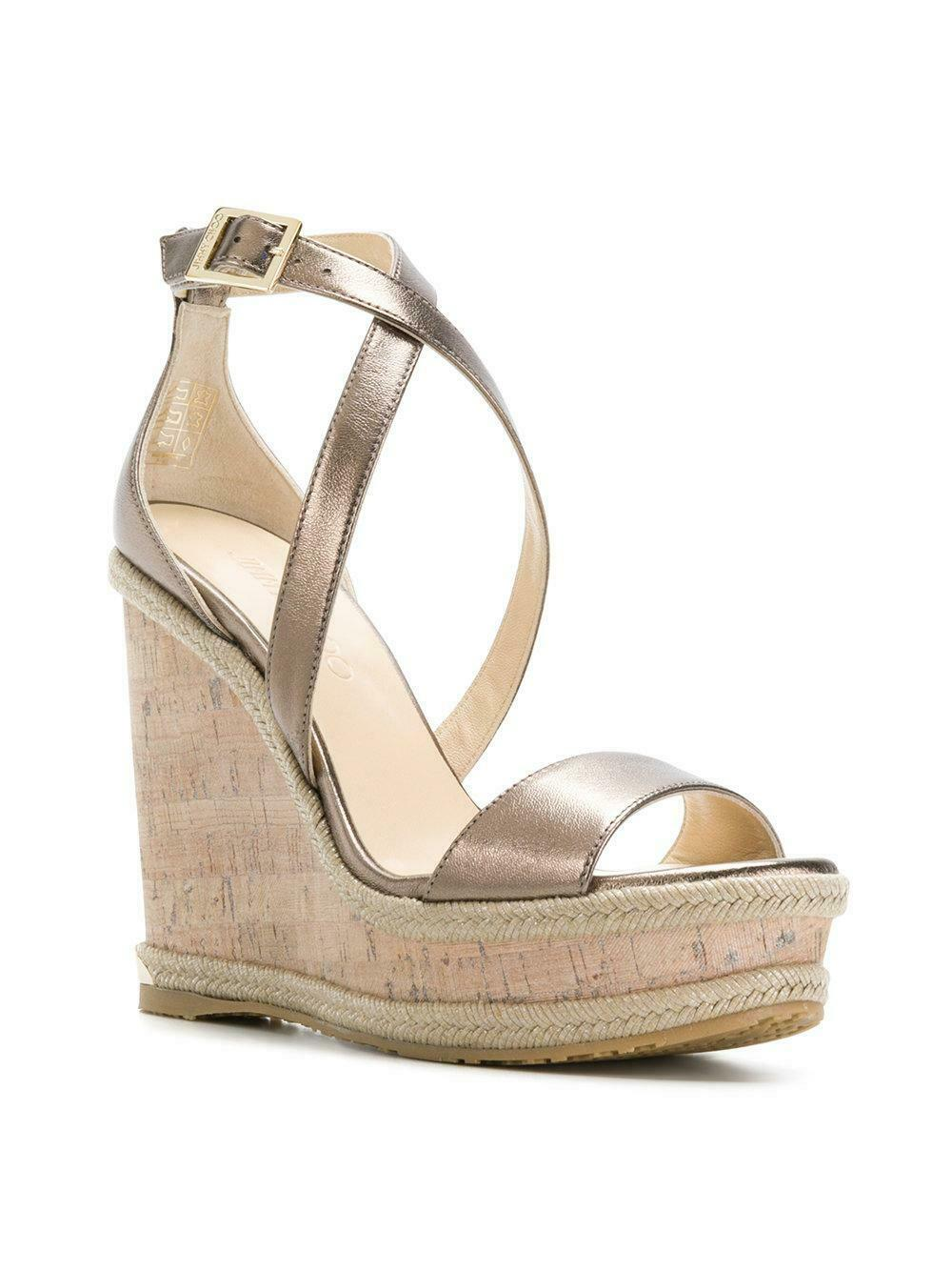 Jimmy Choo Portia 120 Antique Gold Leather Cork Wedge Sandals Espadrilles 39.5 - Click Image to Close